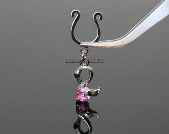 Swan Dangle With CZ Clip On Nipple Ring, Silver Fake Nipple Ring, Swan, Fake Nipple Ring, Clip On, H 64