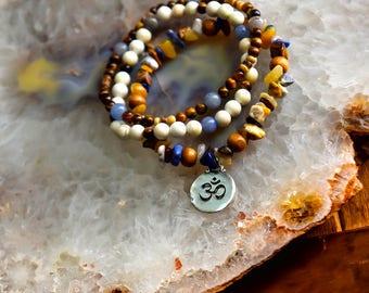 Om Aum Bracelet Agate Aventurine Tiger Eye Power Stone Healing Energy Unisex Boho Bohemian Gypsy Hippie Hippy Indie Yoga Jewelry Yogi Zen