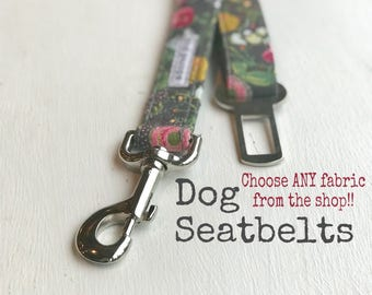 SEAT BELT, You CHooSe Fabric, Dog Seat Belts, Doggie Seat Belt, Pet Seat Belts