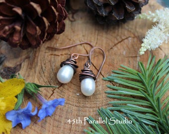 Freshwater Pearl Earrings, Copper Pearl Earrings, Wire Wrapped Pearl Earrings, Wedding, Bridesmaid Gift, Bridal Earrings, Pearl Earrings