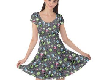 Gir Dress - Invader Zim Dress Short Sleeve Dress Robot Dog Dress Alien Dress Irken Dress Cartoon Dress Plus Size Dress Comicon Dress
