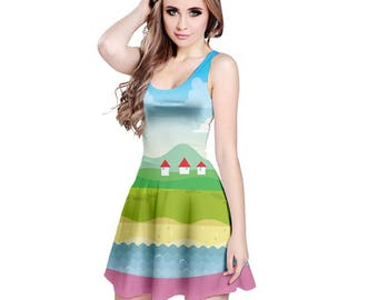 Jungle Dress - Katamari Dress Katamari Cousins Dress Cosplay Dress Katamari Damacy Skater Dress Plus Size Dress Video Game Dress Ichigo Dipp