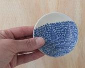 Blue Ring Dish / Handmade Ceramics / Trinket Dish / Soy Dish / Stoneware Dish / Doily Imprint / Food Safe