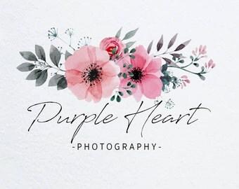 Pre-made Logo Design - Floral Logo, Photography Logo, Customizable Logo, Small Business Logo, Business Branding