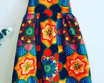 African Print Dress, Girls, Sleeveless,Multicolored African Print