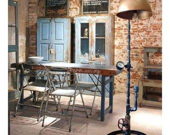 Industrial floor lamp, Steampunk floor lamp, Industrial style light shades, Industrial floor lamp vintage, Metal pipe floor lamp Retro light
