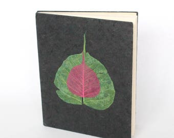 Eco-Friendly Handmade Lokta Bark Paper Journal | Black Leaves Natural Notebook | Unique Sustainable Hard Cover Diary Nepal | Fair Trade
