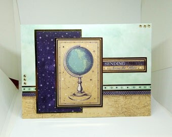 Male Birthday Card - World/Globe - luxury personalised unique quality special bespoke UK - Dad/Son/Uncle/Brother/Nephew