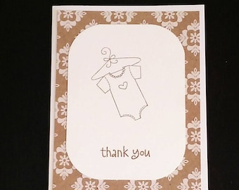 Thank You cards, Baby Showers, Set of (10) cards, Handmade Thank You, Unisex Thank You cards, Unisex Baby Shower cards