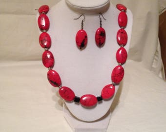 Red Magnescite Necklace Earring Bracelet Set
