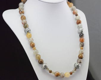Necklace pearls quartz inclusions and Silver 925