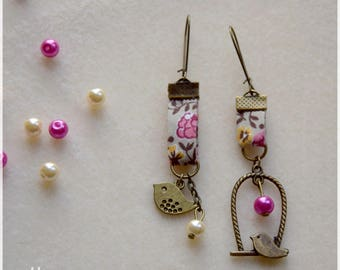 Earrings with beads and charms perch and bird fabric