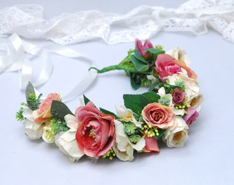 Bridal flower crown Flower headband Bridal floral headband Wedding hair wreath Wedding flower crown Boho wedding Floral wedding crown