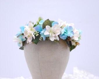 Blue flower headband Wedding flower halo Flower hair wreath Floral crown Rustic wedding flower Flower wreath Bridal headband Bridal halo