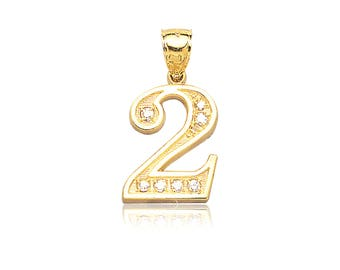 10K Solid Yellow Gold Cubic Zirconia Number Pendant - 0-9 Necklace Charm