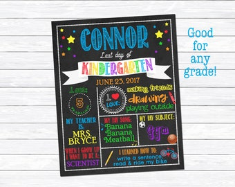Last Day of Kindergarten Sign, Last Day of Kindergarten Printable, Last Day of School, Kindergarten Graduation, Personalized, Digital Down
