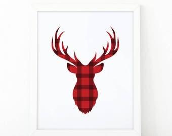 red plaid deer, reindeer print, Christmas print, Xmas wall art, antlers poster, christmas decoration, deer art print, Chritsmas wall art