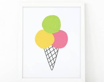 Ice cream, kids prints, minimalist art, Scandinavian art, children's print, nursery decor, Colorful print, Instant Download, kids printable