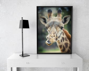 Cute Giraffe Print, Nursery Art, Wall Art, Animal Photo Prints, Cute Animal Art, Bedroom Art, Nature Photography, Baby Room Art, Mammal Art