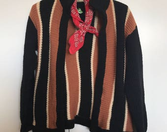 Vintage 70's Topanga Canyon Striped Wool Sweater