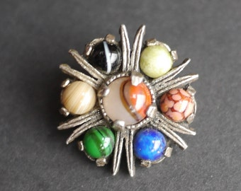 Celtic Scottish Miracle faux agate vintage silver tone brooch with coloured stones, signed brooch