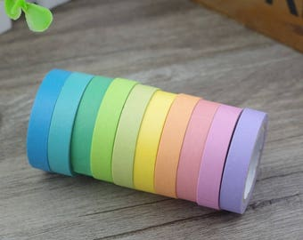 Adhesive tapes 10 piece set 7.5 mm 5 m in Rainbow colors