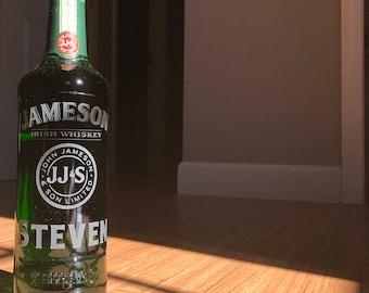 Custom Engraved Jameson Etched Irish Whiskey Whisky Bottle Gift Personalized Gift Merchandise
