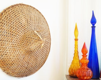 Great Hat Asian Chinese vintage rattan wicker bamboo