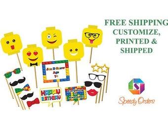 Custom Social Building Blocks Photo booth prop, Colorful Building Blocks Photo props, speech bubbles props,  Kids Birthday Props ;1002012