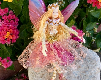"Fae Folk® Fairies - ROSE - Jewel Fairy. Bendable, posable 5"" soft doll can sit, stand, or hang."
