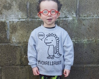 Dino Sweater, Children sweater, customizable sweater, name sweater, personalized dino sweater, toddler sweater, dinosaur sweater, dino sweat