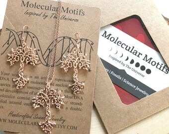 DNA Tree of Life Necklace Earring Set-Sterling Silver Earwires CZ Gems-Tree of Knowledge-Genetics Necklace-Biology Necklace-Science Gift