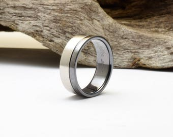 Mens wedding band, a two color titanium ring with a brushed and polished finish, his or her wedding band, unique wedding ring mens