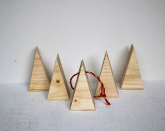"""Mini Christmas Trees (2), 3.25"""" tall, Set of 2, Wood Ornaments, Unfinished, Ready to Paint, Holiday Classroom Craft, Wood Shapes, Kids Craft"""