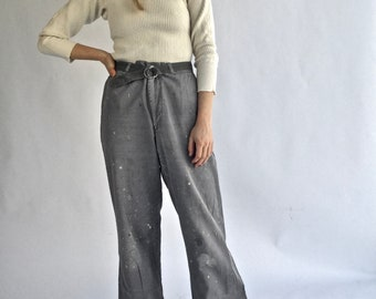 Vintage 30 31 Waist Grey Paint Splatter Painter Pant | Gray Chino | High Waist Trouser Carpenter Pant | Studio Splatter Pant |