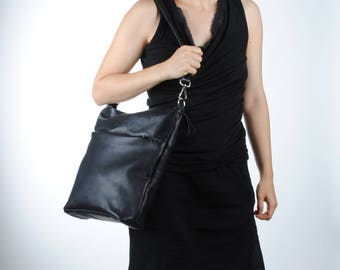 """""""Emmanuelle"""" black leather bag shoulder bag shoulder bag"""