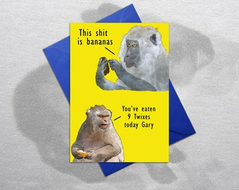 Inappropriate Birthday Card, Rude Birthday Card, Inappropriate Card, Funny Birthday Card, Monkeys Birthday Card, Quirky Card – Bananas