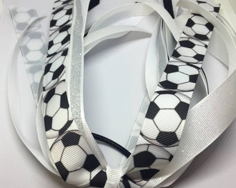 Soccer elastic tie, Soccer ponytail, Soccer hair tie, Soccer streamer, Soccer bow, Sport bows, Ponytail Streamer, Sport hair tie