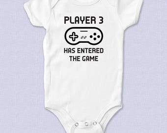 Player 3 Has Entered the Game Custom Baby Bodysuit, Pregnancy Announcement, Baby Shower Present, New Mom and Dad, Video Games, Nintendo