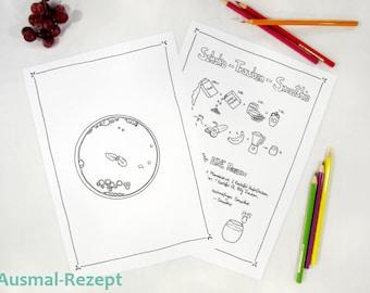 Ausmal ebook für Kinder - digitaler Download - Malseiten für Kids - vegane Rezepte - Schokoladen Trauben Smoothie - Fee Trixilie