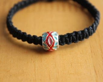Child's Black Hemp Bracelet with Colorful Accent Bead - Comfortable & Casual Jewelry for Kids - Small Unisex Jewelry - Unique Bead Bracelet