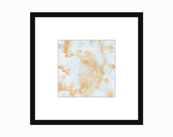 Gold and Blue Printable Art Print Square Watercolor Abstract Minimal 4x4 5x5 8x8 10x10 11x11 12x12 14x14 16x16 18x18 20x20 Instant Download