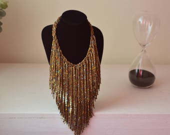 African Maasai Beaded Necklace | Copper Fringe Necklace |African Jewelry | Tribal Necklace |Unique Necklace |One size fits all |Gift for Her