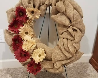 Large Burlap Wreath with tan and red flowers