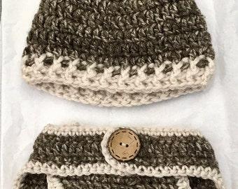 Newborn Crocheted Deer, Baby Deer Set, Newborn photo outfit