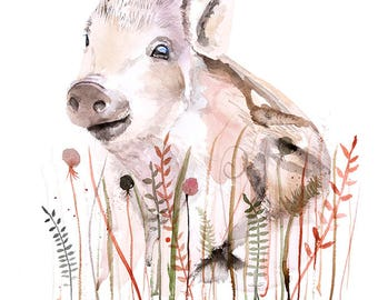 Nursery watercolor Animal art baby Boar wall art print poster watercolor painting illustration children room decor kids nursery wall art