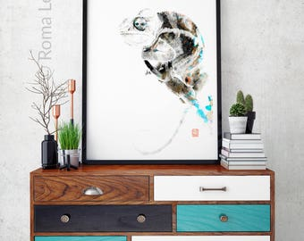 Modern Abstract photo chameleon artwork Home wall decor Art print poster Mixed media drawing illustration living room wall art digital print