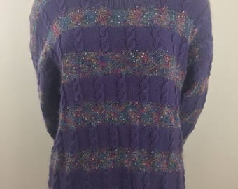 Vintage Purple Wool and Mohair Knit Pullover Sweater /Size Large