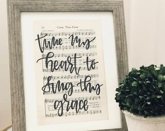 hymn, hand-lettered, modern calligraphy, gift item, home decor