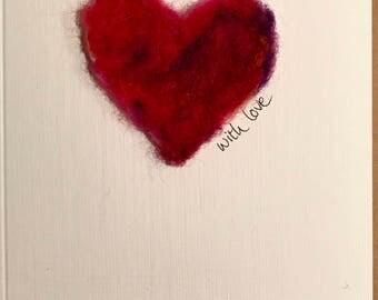 hand-made wool heart love card